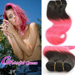 Wholesale Queens Peruvian Hair - Colorful Queen Ombre Pink Human Hair Bundles Body Wave Ombre Human Hair Weaves 3pcs Lot Wavy Short Cosplay Hot Pink Human Hair Weaves 10Inch