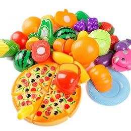 Wholesale cutting play food - 24Pcs Kids Kitchen Toys Plastic Food Food Toy Fruit Vegetable Cutting Kids Pretend Play Educational Toy Play Food Cooking Toys VE0045