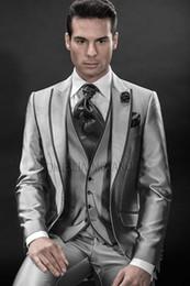 Wholesale silver tuxedos - Fashionable One Button Silver Satin Groom Tuxedos Peak Lapel Groomsmen Best Man Mens Weddings Prom Suits (Jacket+Pants+Vest+Tie) NO:3359