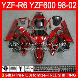 8Regalos 23Color para YAMAHA YZF600 YZFR6 98 99 00 01 02 YZF-R600 54HM2 llamas negras YZF 600 YZF-R6 YZF R6 1998 1999 2000 2001 2002 Kit de carenado desde fabricantes
