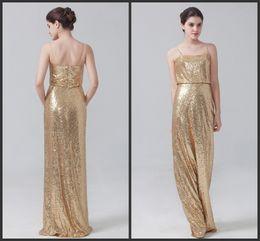 Wholesale Cheap Golden Satin - Bridesmaid Dresses Long Golden Sequined Spaghettis Sleeveless Zipper Back Floor Length Elegant Dress For Wedding Formal Wear Cheap Price