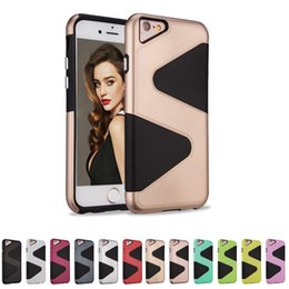 Wholesale S Shape Phone Cases - For Apple iphone 7 plus 7plus iphone 6s 6 plus 6plus Newest Good Quality Cover S Shape Defender Hybrid Armor Phone Case