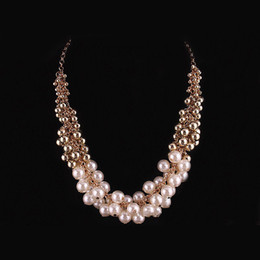 Wholesale Cheap Costume Jewelry Pearls - Multi layered acrylic pearl necklaces boho chic cheap costume jewelry strand necklace chokers bisuteria free shipping wholesale