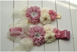 Wholesale Fancy Belts - 2015 Fashion Chldren Girls Chiffon Flowers Rhinestone Sash Belt Princess Fancy Floral Waist Decoration Belt Pink Beige Dress Sash B3880