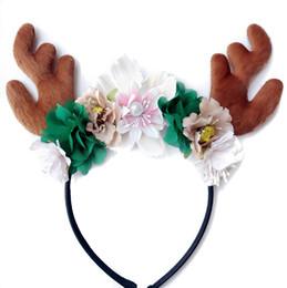 Wholesale Wholesale Deer Antler Headband - 2017 Christmas Hairband For Kids Girls Christmas DIY Hair Accessories Padded Deer Antlers Headband Chiffon Flower Hair Band