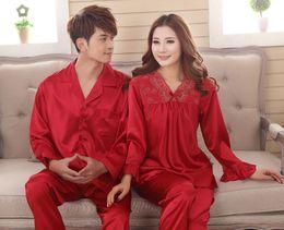 Wholesale Sleep Set For Women - Faux silk sleep lounge Rayon pajama sets for men women sleepwear red marriage wedding pijamas lady's pyjamas female homewear