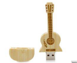Wholesale Guitar Usb Flash Memory - Wooden USB Pendrive Guitar shape USB Flash Drive 4GB 8GB 16GB 32GB 64GB U disk Memory Custom logo high-end Pen drives for School