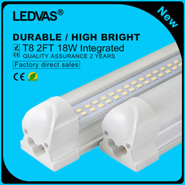 Wholesale Cree Led Lighting Strip Lights - LEDVAS 2-Pack 18W T8 LED Tube Double Strips Integrated 144led Lights Lamps Bulbs 600mm 0.6m 2Ft AC85-265V 1800LM Led Lighting