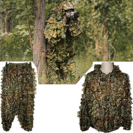 Wholesale Ghillie Suits - Free Shipping 3D Leaf Camouflage Hunting Birding Clothes,Bionic Ghillie Suit,Camo Yowie Sniper Jungle Clothing