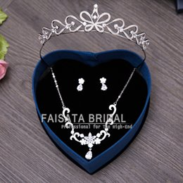 Wholesale High Quality Piercing - Bridal Jewelry Tiara Necklace and Earring Set Crown Tiara Rhinestone Wedding Accessories Bridal Crystal Jewelry 3pcs High Quality