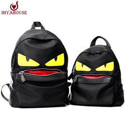 Wholesale Korean Bag Fashion - Wholesale- Famous Brand Demon Eyes Character Backpack New Korean Fashion Nylon Little Monster Schoolbag For Teenager Istitute Wind Backpack
