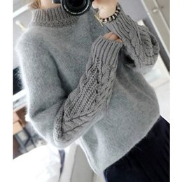 Wholesale Turtleneck Sweater Coat - Wholesale-Angora Sweater Women Knitted Coat Pullovers Long Sleeve Winter Turtleneck Female Angora Sweater Blend Thick Casual Knitted Coat