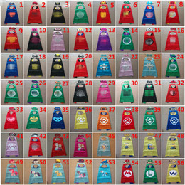 Wholesale Cape Styles - 56 Styles Double Side Cape and Mask 70*70cm Super Hero Girl Cape with Mask for kids Christmas Halloween Cosplay Prop Costumes