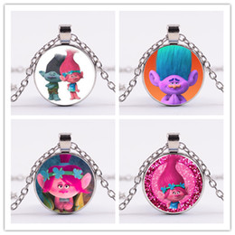 Wholesale Time Glass Necklace - 10styles Trolls Pendant Necklaces Poppy Branch Biggie Suki Gristle 4colors vintage Time gem sweater chain gifts for adult and teena