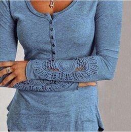 Wholesale Tee Shirt Jumper Lace - Wholesale Slim Thin O Neck Lace Long Sleeve T Shirts Women Autumn Plus Size Shirt Female Jumper Tops Tee