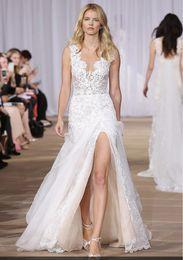 Wholesale Short Skirt Zipper Front - layered lace & silk organza side slit sexy wedding dresses 2017 floor-length A-line skirt hidden back-zip closure bridal gowns
