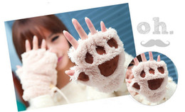 Wholesale Soft Paws Wholesale - Woman Winter Fluffy Bear Cat Plush Paw Claw Glove-Novelty soft toweling lady's half covered gloves mittens christmas gift G390