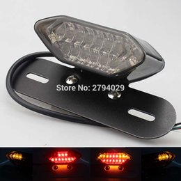 Wholesale Custom Tail Lights For Motorcycles - Free Shipping Smoked Universal 12V LED Tail Brake Light with License Plate Holder Fits For Most of Motorcycle Custom Hot Sales