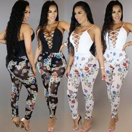 Wholesale Womens Vest Jumpsuit - 2017 Translucent Mesh Sexy Printed Jumpsuit Overalls Vest Rompers Bodysuit Womens Sleeveless Hollow Out Lace up v Jumpsuit One Piece Outfits