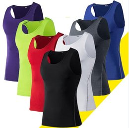 Wholesale Riding Sport Vest - 2017 Man Sports Vest Shirt Yoga Fitness Wear Basketball Running Riding Tight And Dry Sport Swear