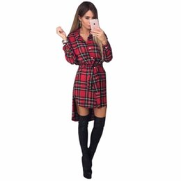 Wholesale Grid Floor - Wholesale- Women Autumn Dress Long Sleeve lattice Print Grid Office Dresses Bodycon Bandage Street Fall Robe Pull Femme Hiver Vestidos
