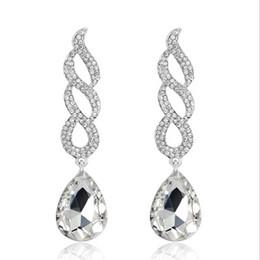 Wholesale Kc Gold Plating - Vintage Silver Plated KC Gold Crystal Teardrop Long Earrings For Women Wedding Large Dangle Bridal Earrings Fashion Jewelry