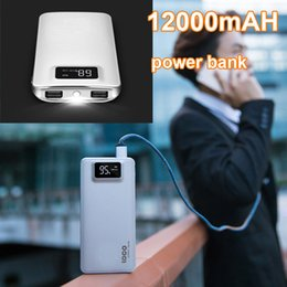 Wholesale External Charge Iphone Bank - Power Bank 12000mAH External Backup Charger Ultra Slim Charging Poverbank Battery for iPhone 7 6 6s 5s Xiaomi Samsung s7 Mobile