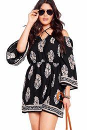 Wholesale Bardot Dress - Fashion Summer Women Plus Size Casual Floral Print Bardot Neck Off-shoulder Dress LC22802 XXXL Vestidoes Beach Loose Dresses
