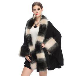 Wholesale Knit Vest Fur Collar - Fashion Autumn and Winter Women 's Fur Coat Imitation Fox Fur Collar Knit Cardigan Shawl Cloak Coat