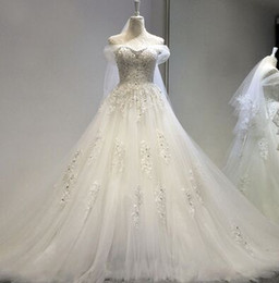 Wholesale Cheap Hot Hands - New Arrival Hot Sale Fashion Luxury Princess Organza Fairy Cheap Vintage Sweetheart Diamond Blades Trailing Gown Bridal Wedding Dress