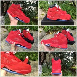 Wholesale Stretch Fabric Womens Shoes - 2017 Air Retro 5 V Raging Bull Red Suede Metal Basketball Shoes Retro 5s Varsity Red Black Womens Mens Sneakers Shoes 5.5-14