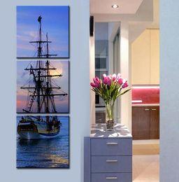 Pintura a óleo vela on-line-Pintura a óleo Sailing Ship Decoração Pintura Home Decor Na Lona Moderna Arte Da Parede Da Lona