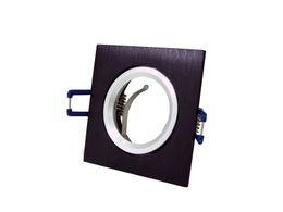 Wholesale Downlight Frame - Wholesale- 10pcs lot Black Square Recessed LED Ceiling Light Adjustable Frame MR16 GU10 Bulb Fixture Downlight Holder