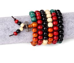 Wholesale Wooden Pendants For Men - New Colorful Wooden Bead Necklace For Men Women Chain Long 75cm Fashion Religious Necklace Jewelry Clothes Accessories Wholesale