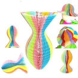 Wholesale Fold Paper Hat - Magic Novelty Vase Paper Hats DIY Folding Hat for Party Decorations Funny Paper Caps Travel Sun Hats Colorful Scenic Scots Cap