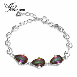 Wholesale 9ct Gold - Wholesale- JewelryPalace 9ct Genuine Mystic Fire Rainbow Topazs Bracelet Solid 925 Sterling Silver Vintage Jewelry For Women Concave Pear