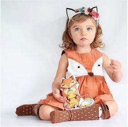 Wholesale Wholesale Sleeveless Toddler Cotton Dresses - 1-5Y Casual Baby Girls Toddler Kids Fox Dress Sleeveless Formal Party Wedding Tutu Dresses