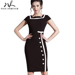 Wholesale Nice Women Dresses - Wholesale- Nice-forever Plus Size Gorgeous Women Square Neck Sleeveless Button Formal Business Sheath Bodycon Vintage Pencil Midi Dress 7