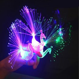 Wholesale Peacock Screen - Wholesale- Peacock finger light open screen bright color fiber ring luminous toys baby toys for children toy