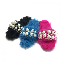 Wholesale Rose Slippers - Blue Rose Pink Black Plus Wool Fur Pearls Sandals Women Flats Beaded Brand Warm Slippers New 2017 Summer Spring Slippers