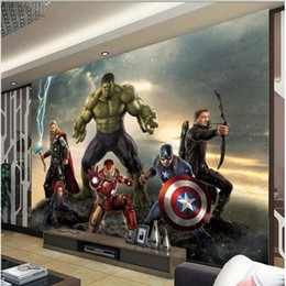 Wholesale Chinese Heat Sticker - custom 3d photo murals wallpaper Avengers 3d painting kids room sofa TV background wall non-woven Sticker wallpaper for walls 3d