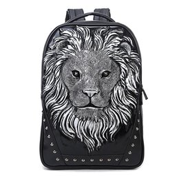 Wholesale Studded Bags Black - Personalized 3D Lion Studded PU Leather Casual Laptop Backpack School Bag