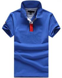 2017 Nouvelle Mode D'été Style Hommes Polo Chemise Américain Occasionnel Solide Coton Sport Chemises Hommes Shark Polos Marque Vêtements Bleu ? partir de fabricateur