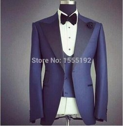 Wholesale White Tux Prom - Wholesale- High Quality Real Picture Custom Made Navy Groom Tuxedos Business Suits Natch Lapel Blazer White Boy Prom Mens Tux Bridegroom