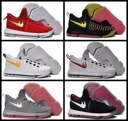 Wholesale Cheap Kd Boots - Cheap Kevin Durant Basketball Shoes Boys Men Retro KD 9 EP IX Rio Red White Sport Boots Sneakers shoes