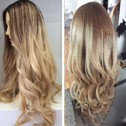Wholesale Two Tone Remy Color Hair - Ombre Two Tone Blonde Color 100% Brazilian human hair full lace wigs & lace front wigs bleached knots ombre #8 22 human hair wigs