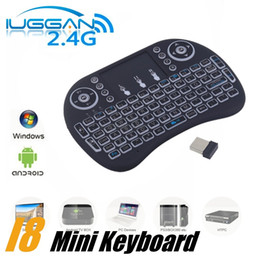 Wholesale Hot Rii - HOT rii i8+ Wireless Backlight Keyboard Fly Air Mouse Multi-Media Remote Control Touchpad Handheld for TV BOX Android Mini PC B-FS