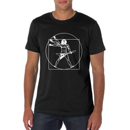 Wholesale Vitruvian Man - New Style Mens T Shirt Guitar Player Funny Vitruvian printed Shirt Music Humor Tops Tees Male Cotton Round Neck Short Sleeve