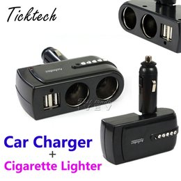 Wholesale Double Lighter Usb Charger - NEW Car Cigarette Lighter Super drop ship 2 USB Port Charger Supply + Double Sockets Extender Splitter Mar714 with retail box Free Shipping