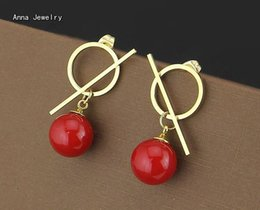 Wholesale Southsea Pearls Earrings - Fresh Red Color Southsea Pearl Stud Earring,Stainless Steel Material Round Circle with Bar Charm,Women Favorite Pearl Earrings
